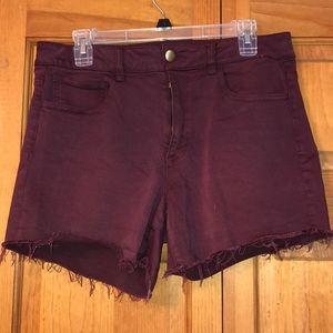 American Eagle High Rise Shortie Maroon Shorts